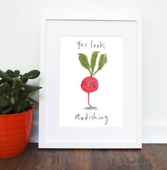 KitchenArt jo clark design Radish Vegetable Giclee Print, Love