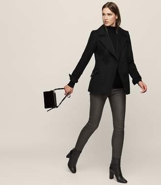 Reiss Margot - Leather Leggings in Khaki