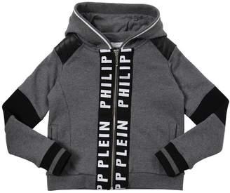 Philipp Plein Junior Zip-Up Faux Leather & Cotton Sweatshirt