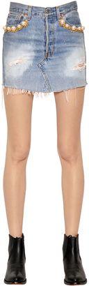 Embellished Cotton Denim Skirt $390 thestylecure.com