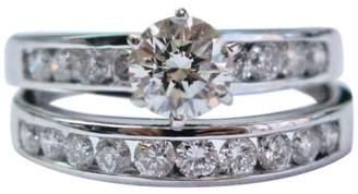 14K White Gold & 1.63ct Round Cut Diamond Channel Setting Wedding Ring Set