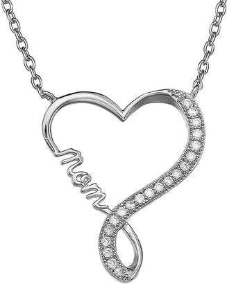 SILVER TREASURES Silver Enchantment Cubic Zirconia Heart Infinity Mom Pendant Necklace