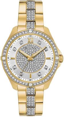 Bulova Women's Gold-Tone Stainless Steel & Crystal Bracelet Watch 35mm $399 thestylecure.com
