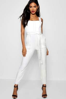 boohoo Topstitch Square Neck Pocket Jumpsuit