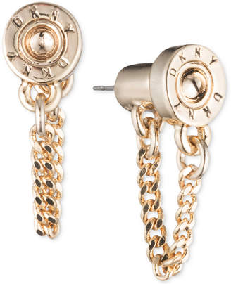 DKNY Logo Rivet Chain Front & Back Earrings