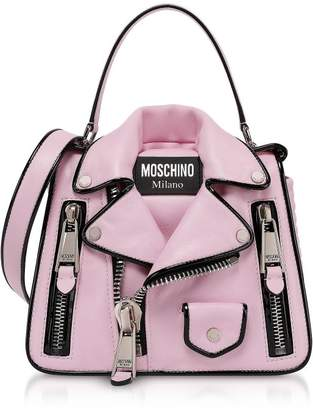 Moschino Pink Biker Jacket Top Handle Satchel Bag