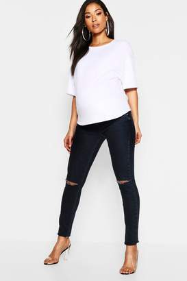 boohoo Maternity Under The Bump Slit Knee Jean