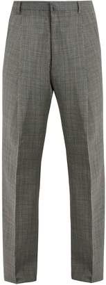 Lanvin Wide-leg checked wool trousers