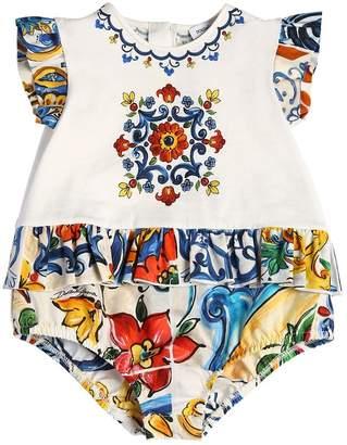 Dolce & Gabbana Maiolica Ruffled Cotton Jersey Bodysuit