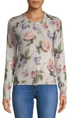 Lord & Taylor Floral Cashmere Cardigan