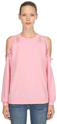 Ermanno Scervino Lace Cutout Wool Sweater