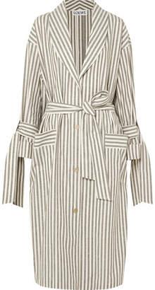 Loewe Striped Slub Cotton Coat - Stone