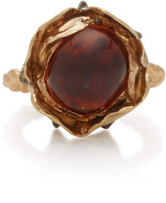 Sylvie Corbelin 18K Gold Oxidized Silver Citrine and Diamond Ring