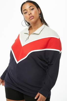 Forever 21 Plus Size Colorblock Pull-Ring Pullover