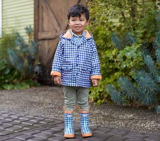 Pottery Barn Kids Raincoat, Hatley Navy/Orange Gingham, Size 6