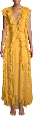 Shona Joy Ambra V-Neck Cap-Sleeve Layered Ruffle Maxi Dress