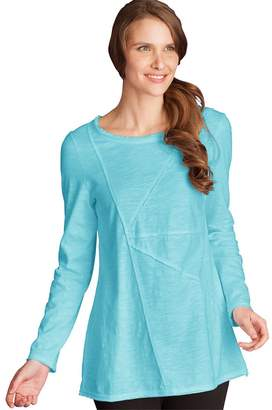 Neon Buddha Women's 100% Cotton Top Female Long Sleeve T Shirt with Boat Neckline and Exposed Seams