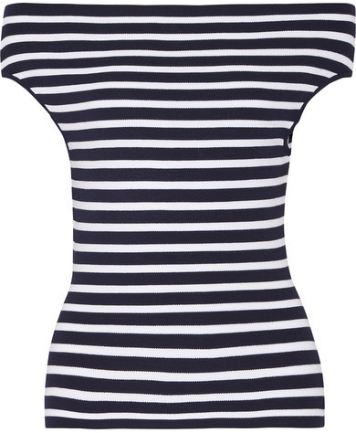 Michael Kors Collection - Off-the-shoulder Striped Stretch-knit Top - Navy