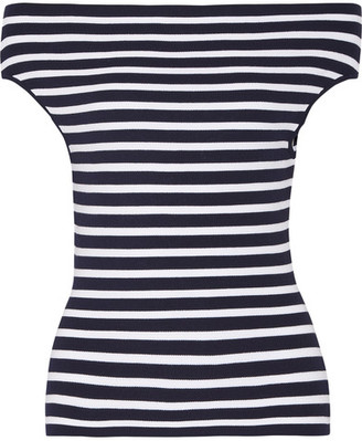 Michael Kors Collection - Off-the-shoulder Striped Stretch-knit Top - Navy $450 thestylecure.com