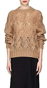 Prada Women's Cable-Knit Mohair-Blend Sweater-Camel