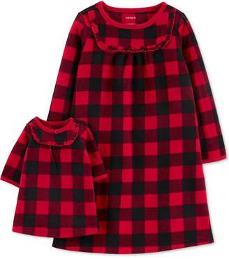 Carter's Carter Toddler Girls 2-Pc. Buffalo Check & Matching Doll Nightgown