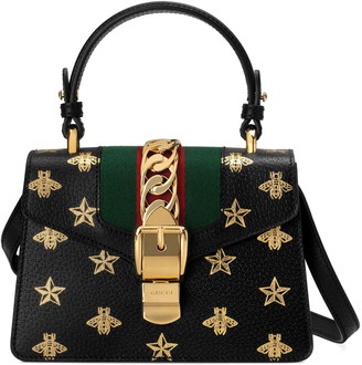 Gucci Small Sylvie Top Handle Leather Shoulder Bag