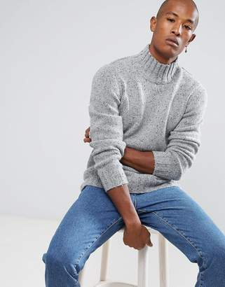 Selected Knitted High Neck Sweater In Wool Mix With Fleck Detaill
