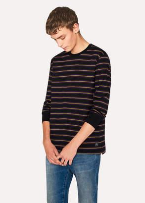Paul Smith Men's Black Violet-Stripe Long-Sleeve T-Shirt