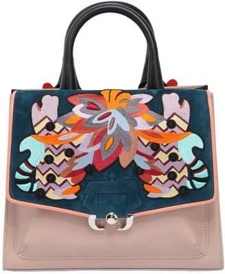 Paula Cademartori Alex Embroidered Leather Top Handle Bag