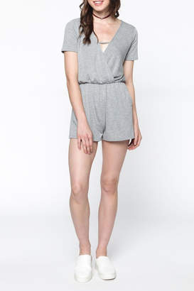 Everly Grey Surplice Romper