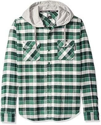 DC Men's Runnels Long Sleeve Hooded Flannel Shirt