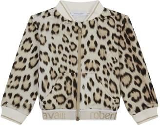 Roberto Cavalli Leopard Print Fleece Bomber Jacket
