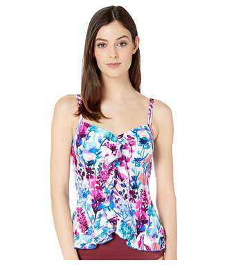 Maxine Of Hollywood Swimwear Parisian Garden Ruffle Tankini Top