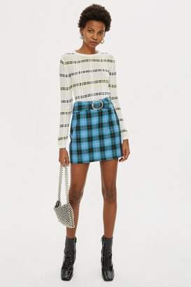 Topshop Circle Buckle Check Mini Skirt