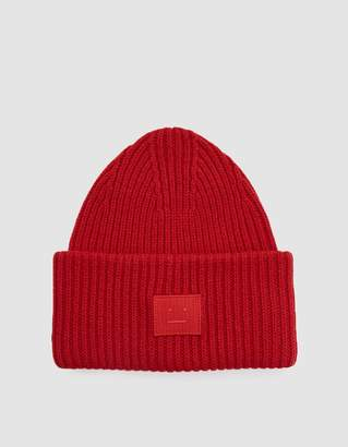 Acne Studios Pansy N Face Beanie in Ruby Red