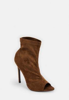 Missguided Faux Suede Pointed Peep Toe Ankle Boots