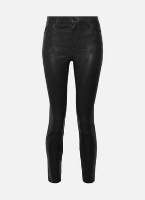 J Brand Alana Cropped Leather Skinny Pants - Black