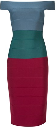 Herve Leger panelled fitted midi dress