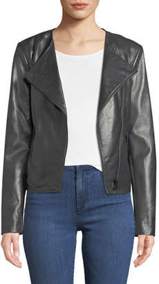 Neiman Marcus Leather Collection Asymmetric-Zip Leather Moto Jacket