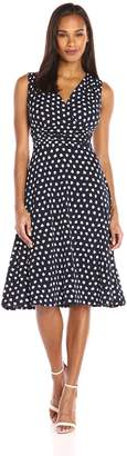 Ronni Nicole Women's Sleevless Blurred Dot Rouched Waiset Midi