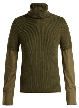 No.21 No. 21 - Contrast Sleeve Roll Neck Wool Sweater - Womens - Khaki