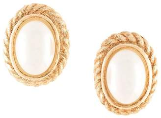 Christian Dior PRE-OWNED faux-pearl oval earrings
