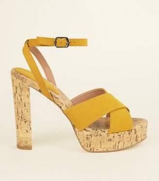 1350c644b32 New Look Mustard Suedette Cork Platform Block Heels