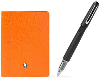 Montblanc t145 Cross-Grain Leather Notebook And M Ultra Resin Ballpoint Pen Set