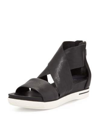 Eileen Fisher Sport Wide-Strap Leather Sandal, Black $195 thestylecure.com