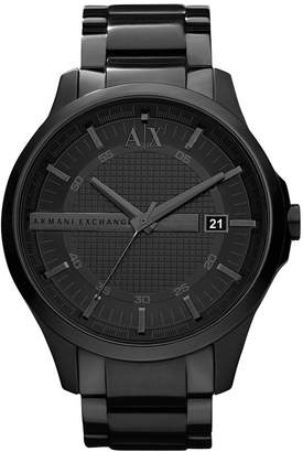 Armani Exchange Watch, Men's Black Ion Plated Stainless Steel Bracelet 46mm AX2104