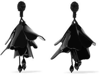 Oscar de la Renta Large Impatiens Beaded Clip Earrings - Black
