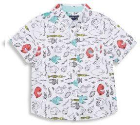 Little Boys Fish Print Cotton Shirt $46 thestylecure.com