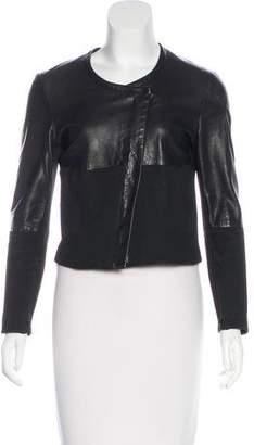 Helmut Lang Leather-Accented Collarless Jacket