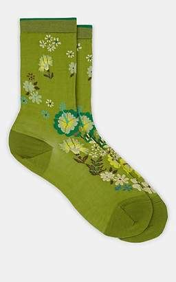 Antipast Women's Floral-Print Cotton-Blend Mid-Calf Socks - Green